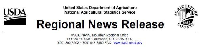 USDA NASS Regional News Release header