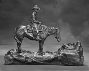 A Jerry Palen bronze depicting the Stock Growers Land Trust horse and rider logo is awarded to the recipient of the Kurt Bucholz Conservation Award.