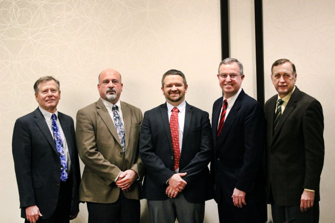 2017/18 U.S. Wheat Associates Officers (L to R): Chris Kolstad, Secretary-Treasurer; Mike Miller, Vice Chairman; Jason Scott, Chairman; Doug Goyings, Secretary-Treasurer Elect; Alan Tracy, President.