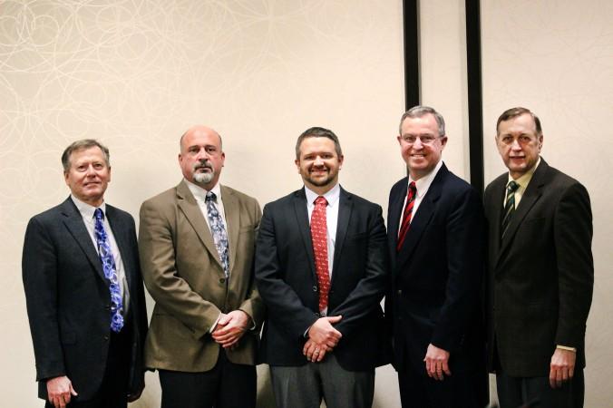 2017/18 U.S. Wheat Associates Officers (L to R): Chris Kolstad, Secretary-Treasurer; Mike Miller, Vice Chairman; Jason Scott, Chairman; Doug Goyings, Secretary-Treasurer Elect; Alan Tracy, President.
