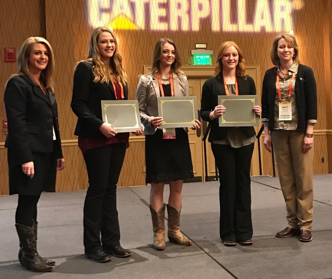 The 2017 winners of the Collegiate Beef Advocacy Program were announced at the Cattle Industry Convention and NCBA Trade Show in Nashville, Tenn. The three winners are (pictured center, left to right) Elisabeth Loseke, Columbus, Neb., McKenzie Smith, Snowville, Utah, and Haley Goodall, Belden, N.D. They are pictured with ANCW program manager Evelyn Brown (far left) and Janet Bailey Barrows of Farm Credit Services of America (far right). Each recipient receives a $2,000 scholarship sponsored by Farm Credit Services of America.