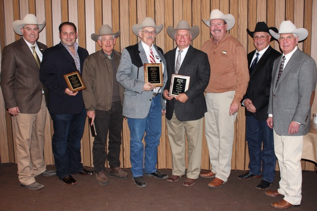 The Livestock Marketeers inducted Bill Angell, LaSalle, CO, and Doug Paul, Edmond, OK, into their Hall of Fame during the group's 52nd Annual Banquet, held in conjunction with the National Western Stock Show in Denver on January 14. Jim Danekas, Wilton, CA, was honored posthumously. Shown here are Butch Booker, Colfax, WA; Matt Lohse, Wilton, CA; Jim Gies, Eaton, CO; Bill Angell, LaSalle, CO; Doug Paul, Edmond, OK; Mark Smith, Ankeny, IA; John Korrey, Iliff, CO; and Neil Orth, Kansas City, MO.