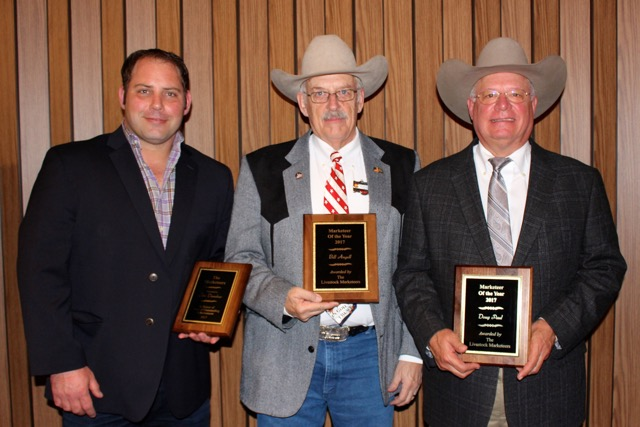 The Livestock Marketeers honored three inductees to the Hall of Fame for 2017: Jim Danekas, Wilton, CA, was honored posthumously and represented by his son-in-law, Matt Lohse; Bill Angell, LaSalle, CO; and Doug Paul, Edmond, OK.