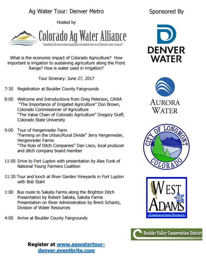 06 05 17 cawa hosting ag water tour denver metro area on june 27th